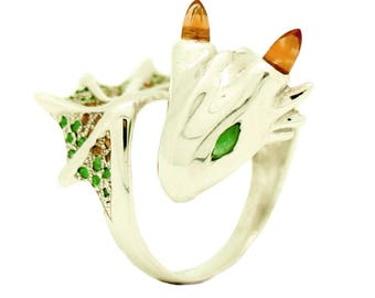 Citrine Emerald Dragon Silver Ring