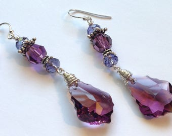 Purple and Violet Crystal Dangle Earrings Sterling Silver