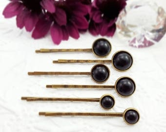 Black Pearl Bobby Pin Set, 6 Soft Black Hairpins, Black Tie Hair Accessory, Black Wedding Hairpins, Black Pearl Bridal Hair Accessory, H4214