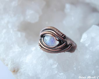 Moonstone Ring size 6.75, Wire wrapped Moonstone wire ring, Heady ring, Raw crystal ring Recycled Copper ring Moonstone jewelry Unusual ring