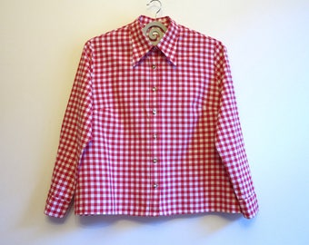 Gingham Plaid Blouse Checkered Red White Plaid Womens Blouse Long Sleeves Shirt Gingham Plaid Womens Shirt Cotton Shirt Size 2X