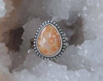 Drop Ocean Jasper Ring, Size 7, Sterling Silver Ocean Jasper Jewelry