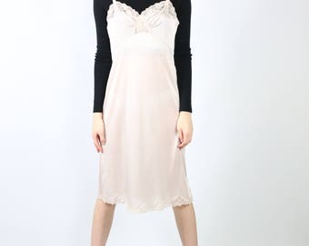 Vintage Pink Slip Dress with Lace Detail