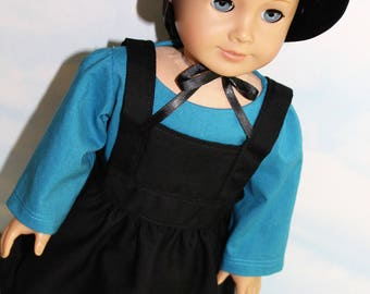 18 Inch Doll (like American Girl) Teal Blule Amish Dress with Black Bonnet and Apron