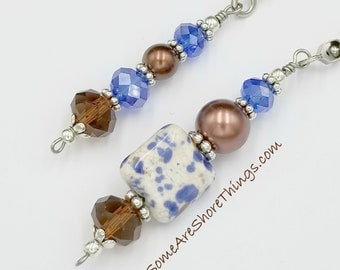 Light and Ceiling Fan Pull Chain Set.  Blue / Brown Color Home Decor. Glass Beaded Pull Chains.  Bedroom Kitchen Dining Room Den Office.