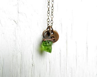 Initial Necklace Leo Birthstone Copper Necklace Electroformed Peridot Necklace Raw Stone Personalized Jewelry Birthday Gift