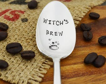 Witch's Brew Hand Stamped Coffee Spoon • Stamped Silverware • Gift Idea for Coffee Lover