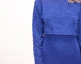 Vintage 1980's Applique Pattern Dress Medium