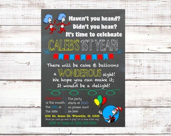 Dr. Seuss First Birthday Invitation, Cat in the Hat, Thing One and Thing Two, Chalkboard, First Birthday, Gender Neutral, Twin Birthday