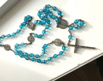 Vintage Aurora Borealis Faceted Blue Crystal Rosary Made In Italy