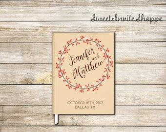 Fall Wreath Wedding Guest Book, Autumn Guest Book, Autumn Leaves Guest Book, Fall Wreath Guest Book, Autumn Wreath Wedding Guest Book