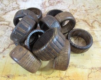 Vintage Wood Napkin Rings Tribal Ethnic Style Wooden Napkin Rings