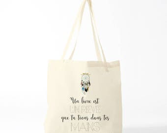 Reading Fans tote bag, novelty gift, gift coworker, quote books, french quote, library bag.