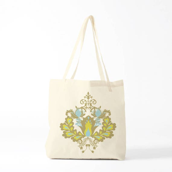 Tote bag, Damask pattern, anis version, groceries bag, novelty gift, canvas bag, gift coworker, gift woman, gift sister.