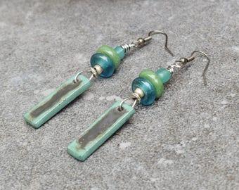 Bohemian Earrings, Rustic Jewelry, Gypsy Boho Earrings, Ethnic Earrings, Sea Blue Green Earrings, Statement Earrings, Ceramic Jewelry