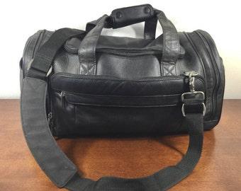 Brookstone, Black Leather Duffel Bag