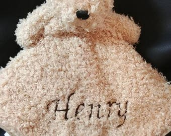 bear lovey security blanket custom personalized embroidered baby gift