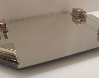 Vintage Mirrored Vanity Tray Silver Plated Brackets & Glass Rods - Lovely!!
