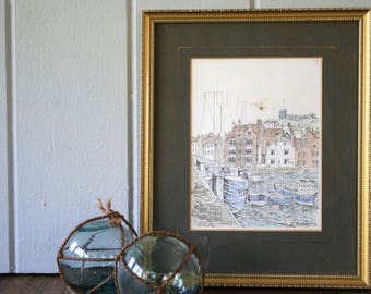 Whitby Yorkshire Seaside Print Hand Tinted Drawing D. A. Heald English Scenery Boats Marina Port Harbour Church Frame Wall Art