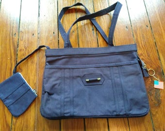 Structured navy canvas bag with attached change purse