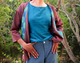 purple silk jacket, hand woven, with hand-embroidered collar