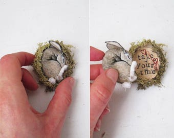 hare miniature faux taxidermy textile fiber art OOAK jewellery brooch pin woodland creature hand painted embroidered