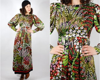 1970's Dress - 70's Floral Maxi Dress - Mollie Parnis Boho Dress - Balloon Sleeves - Size S