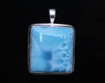 Large Square Larimar Pendant Solid Sterling Silver, Bezel Set Gemstone Pendant, Dominican Republic Stone, Turtle Back Pattern, LAR28