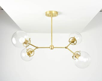 Modern Chandelier Raw Brass Gold 2 Arm 4 Bulb Light with clear globe Pinwheel Sputnik Mid Century Industrial Hanging Light UL Listed