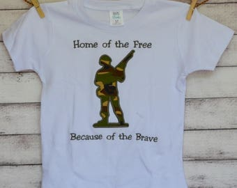 Personalized Military Army Man Applique Shirt or Onesie Boy