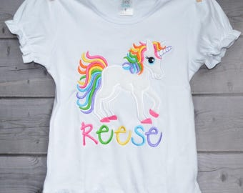 Personalized Unicorn Applique Shirt or Onesie Girl