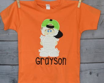 Personalized Halloween Mummy Boy with Baseball Cap Applique Shirt or Onesie for Boy or Girl