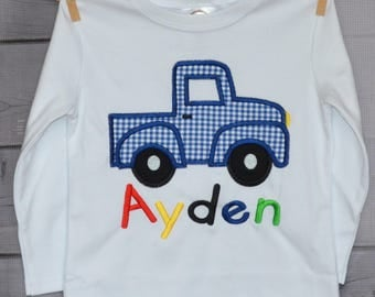 Personalized Truck Applique Shirt or Onesie