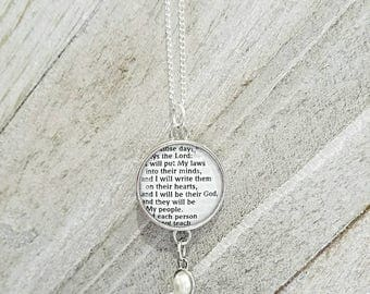 Hebrews 10:16/Vintage Necklace Pendant/Gift for Her/Gift for mom/Gift for Wife/Christian Jewelry/Vintage Jewelry/Custom Jewelry