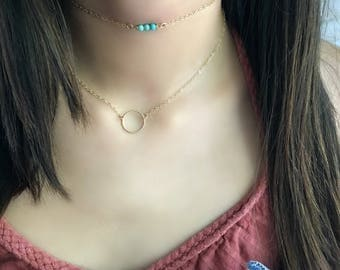 14kt gold filled Circle Necklace Eternity Necklace Karma Necklace Ring Necklace Turquoise Choker Turquoise Minimalist letitbelove layering