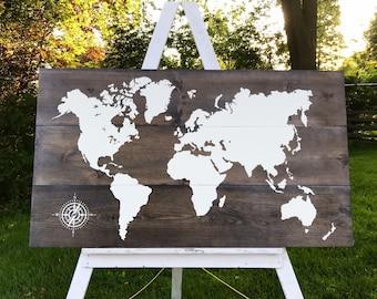 Map Decor, Large Map, World Map Sign, Wall Art, Map Art, Rustic Map, Large World Map, Wood Map Sign