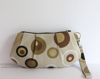 Zippered pleated wristlet, small zippered bag, zippered pouch, brown and gold circles on tan wristlet, gift for women, gift for teens