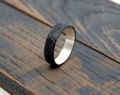 Mens Promise Ring, Mens Promise Black Rhodium Plated Ring, Bark Ring, Tree Bark Ring, Promise Ring for Him