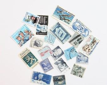 20 Blue-Themed Vintage Used Stamps | Vintage Postage | Postage Stamps | Embellishments | Vintage Styling Props | Vintage Wedding Stationery