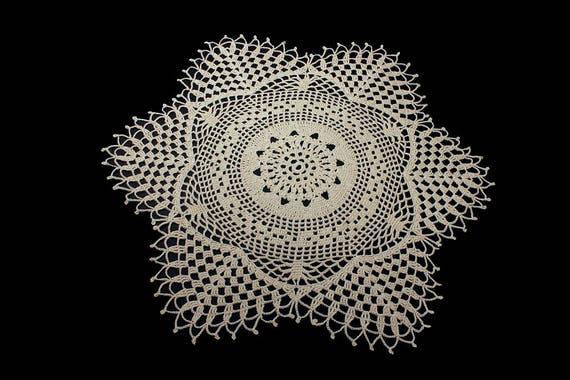 Crochet Doily, Round, 18-inch, Ecru (Natural),  Round, Crochet Mat, Crochet Lace, Fine Art Crochet, Snowflake