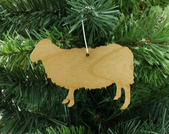 Icelandic Sheep Ornament in Wood or Mirror Acrylic Customizable with Name (Design 2)