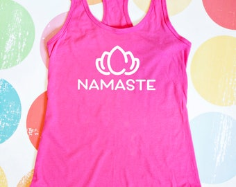 Namaste Yoga Tank Top - Pink Racerback Tank Top
