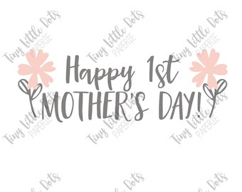 Baby's First Mother's Day Sticker DIGITAL Iron On Transfer Printable - Happy Mother's Day Onesie - Onesie Outfit - DIY Holiday Photo Prop