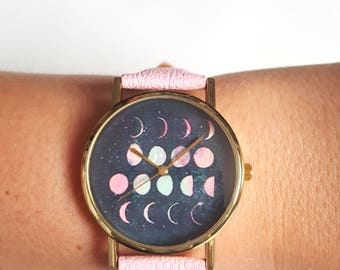 Moon Phase Watch Pastel Pink Watch Astronomy Space Celestial Womens Watch Cute Gift For Her