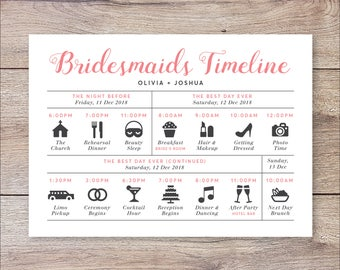 Wedding day timeline etsy bridesmaids timeline program wedding timeline bridesmaids wedding itinerary timeline bridesmaids big day timeline junglespirit Images