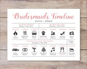 Bridesmaids timeline program, Wedding Timeline Bridesmaids, Wedding Itinerary Timeline, Bridesmaids Big Day Timeline, Wedding Day Timeline