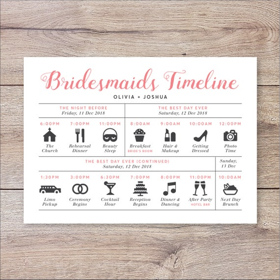Bridesmaids timeline program wedding timeline bridesmaids bridesmaids timeline program wedding timeline bridesmaids wedding itinerary timeline bridesmaids big day timeline wedding day timeline junglespirit Images