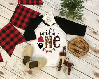 First Birthday Shirt, Lumberjack Birthday, 1st Birthday shirt, Buffalo Plaid Party, Lumberjack Party, Woodland Party Set, Wild One Birthday