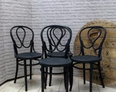Set of Four Antique Bentwood Dining Chairs J  J Kohn Mundus Thonet Style Grey