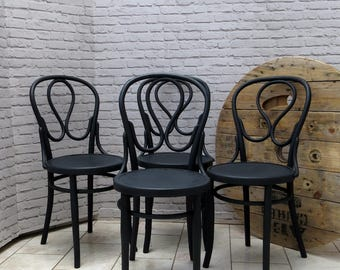 SOLDSet of Four Antique Bentwood Dining Chairs J & J Kohn Mundus Thonet Style GreySOLD